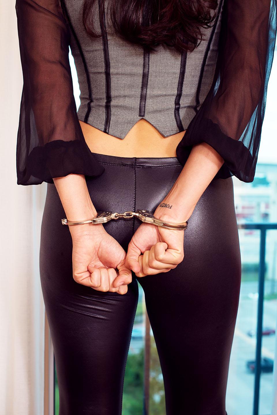 Women handcuffs leg irons bondage removed