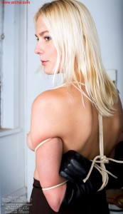 Blonde beauty Vika, topless, tied Chinese judicial style, in gloves, pencil skirt and heels - Bondage Scenes 2 with Vika