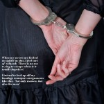 Handcuffed tightly behind her back - Vika is restrained