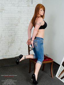 Angela Orlando, capris, handcuffed