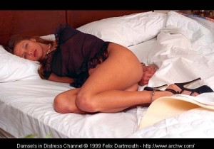 Sue-Anne put to bed in high heels, handcuffs and irons