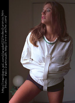 Sue-Anne in her straitjacket and crotch-strap 1