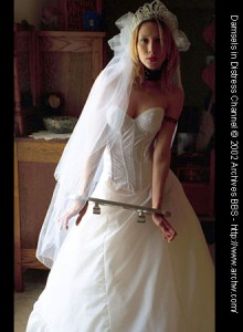 Veiled bride locked in aluminum stock restraint