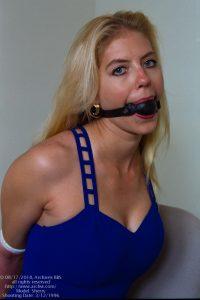 Sherry blue dress, ball-gagged