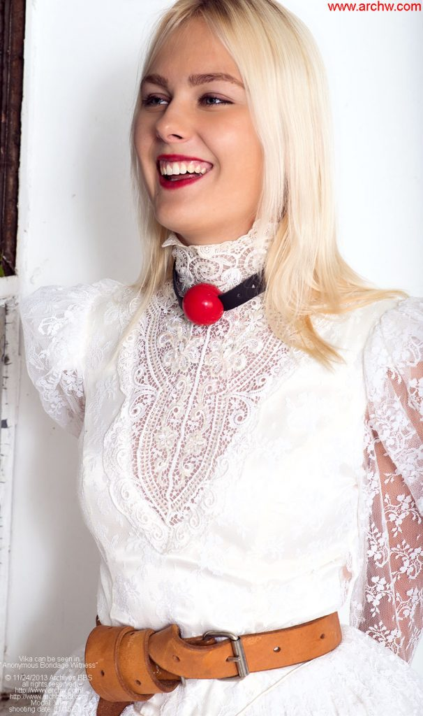 Handcuffed bride with transportation harness
