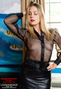 Vika in black organza blouse and leather skirt